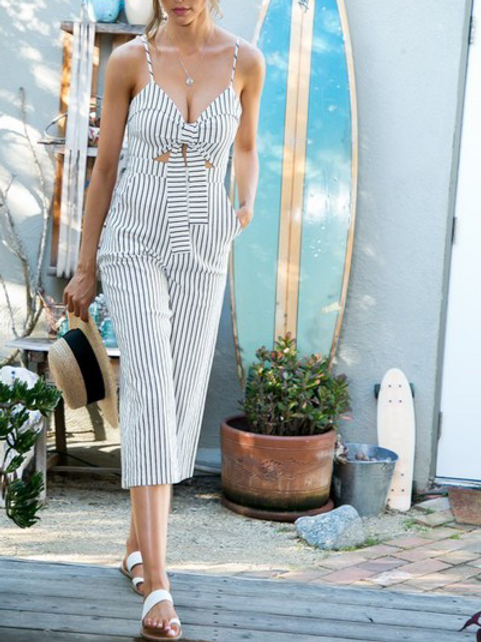 Fun in the Sun Striped Front Tie Jumpsuit