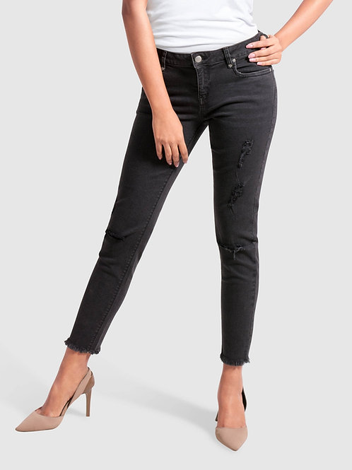 Show Up Skinny Frayed Ankle Denim Jeans