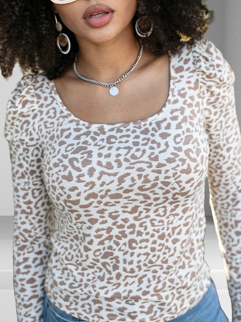 Fall for Leopard Print Square Neck Long Puff Sleeve Top