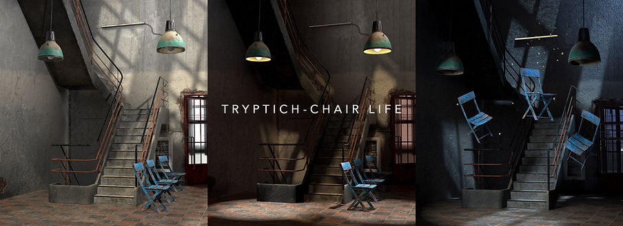 Three secenes of chairs in day, dusk and night interior setting