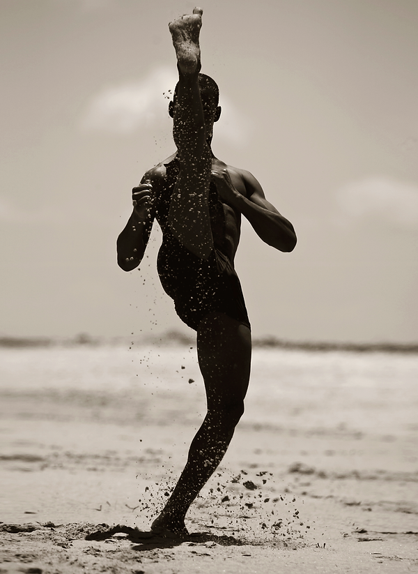 Martial art practice on a beach in Lamu, Kenya