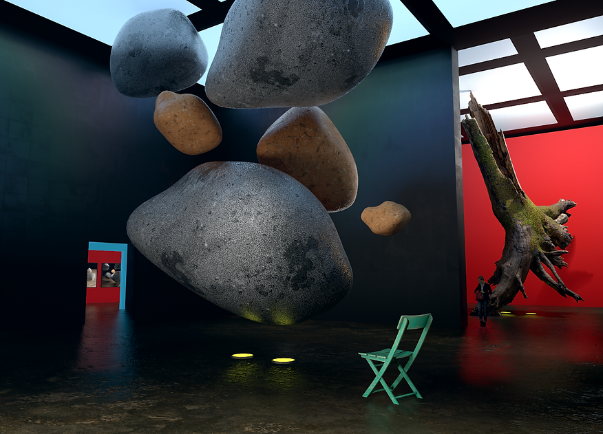 Boulders in a museum setting