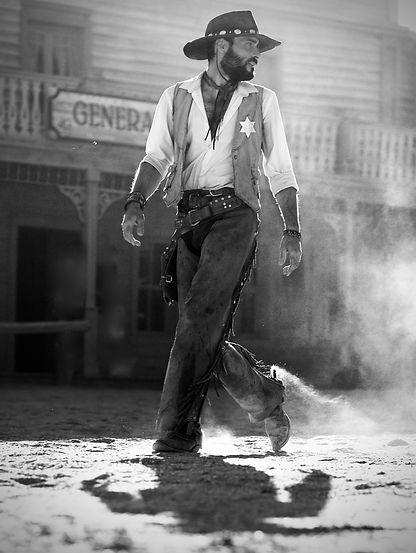 Sheriffcowboy monochrome by Michael Potter