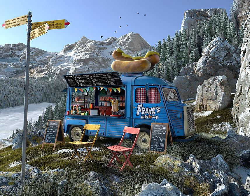 hot dog van on a mountain pass