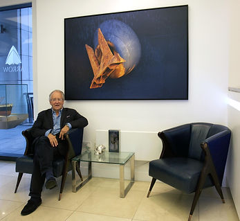 Man sitting with the painting