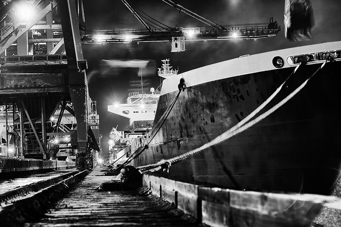 Ship at night port talbot by Michael Potter