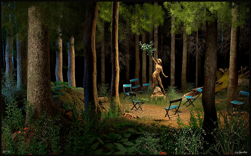 A forest glad with chairs and a wood nymph