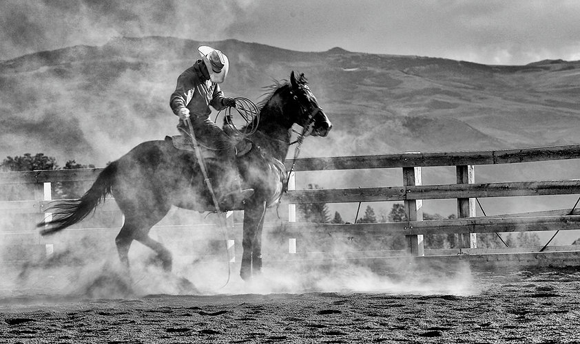 Cowboy and horse in corall in swirling dust