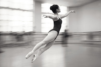 Ballet dancer in mid air, monochrome by Michael Potter