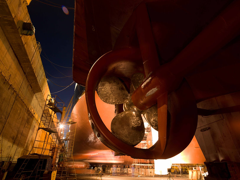 Propellor of a ship at night in dry dock, Romania