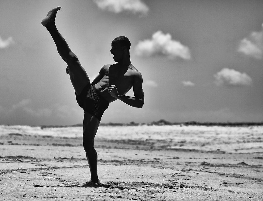 Martial art move on a beach