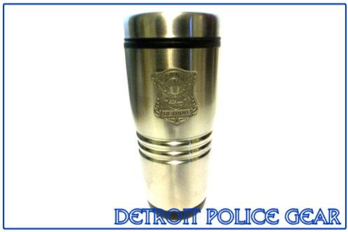 Detroit Police Pewter Badge Travel Mug 16 oz. (Old Style)