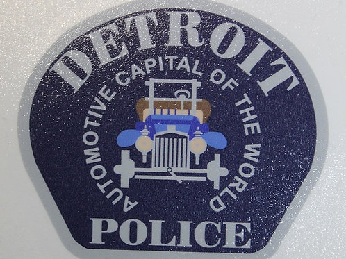 Detroit Police Car Patch Decal (Silver)
