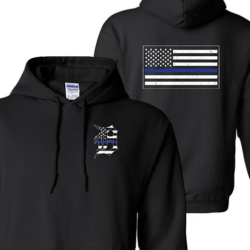Detroit Police Blue Line Old English D and Flag Hoodie 18500