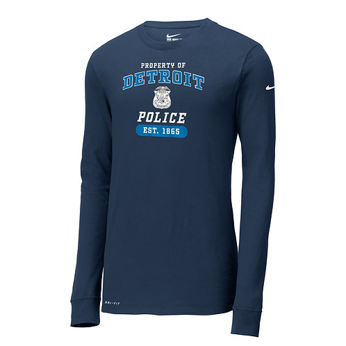 Nike Property of Detroit Police Dri-FIT Cotton/Poly Long Sleeve Tee NKBQ5230