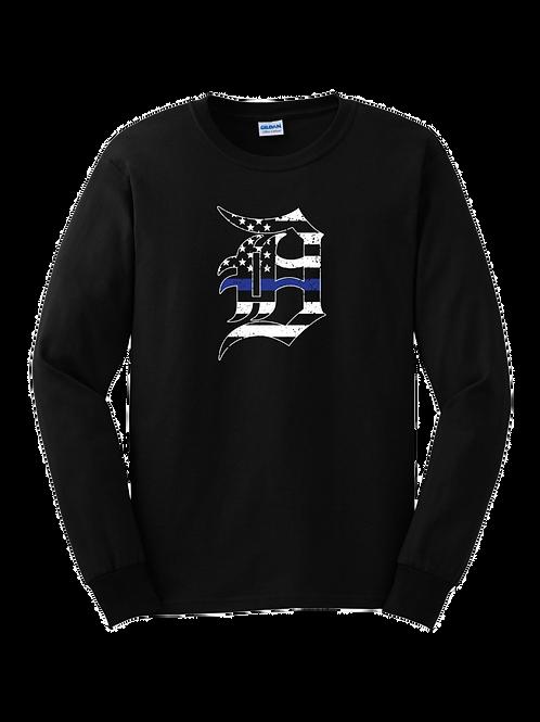 Detroit Police Blue Line Old English D Long Sleeve Shirt 8400