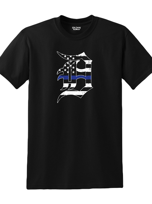 Detroit Police Blue Line Old English D T-Shirt