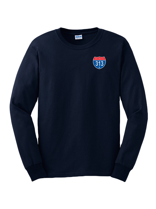 Detroit 313 Interstate (Left Chest) Long Sleeve Shirt