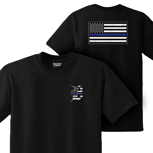 Detroit Police Blue Line Old English D and Flag T-Shirt