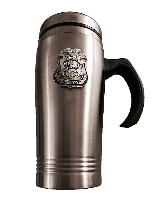 Detroit Police Pewter Badge Travel Mug w/handle 16 oz. (New)