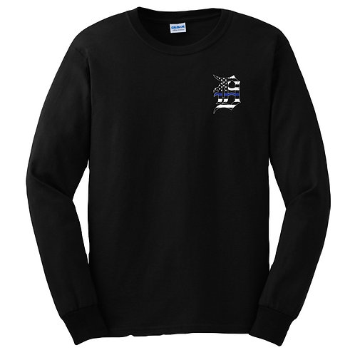 Detroit Police Blue Line Old English D and Flag Long Sleeve Shirt