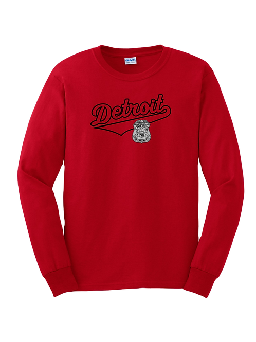 Detroit Police Script with Badge Long Sleeve Shirt