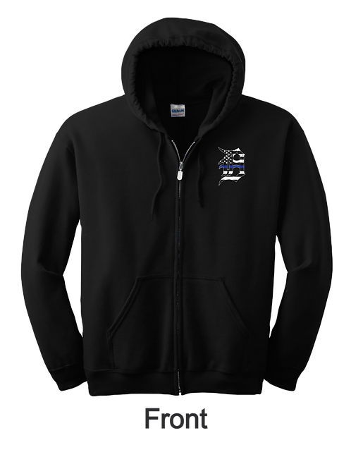 Detroit Police Blue Line Old English D and Flag Zip Up Hoodie