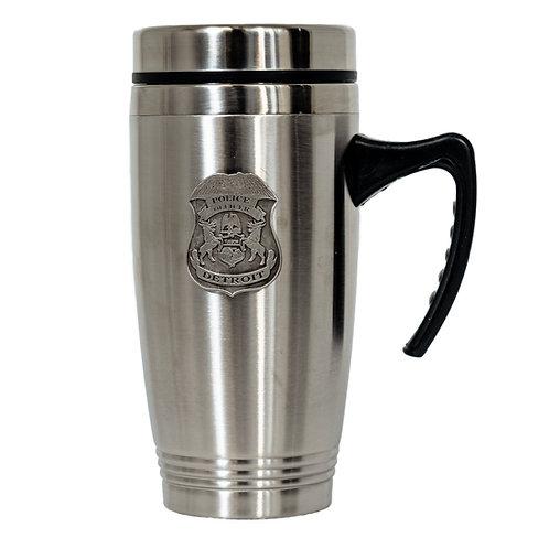 Detroit Police Pewter Badge Travel Mug w/handle 16 oz. (New)