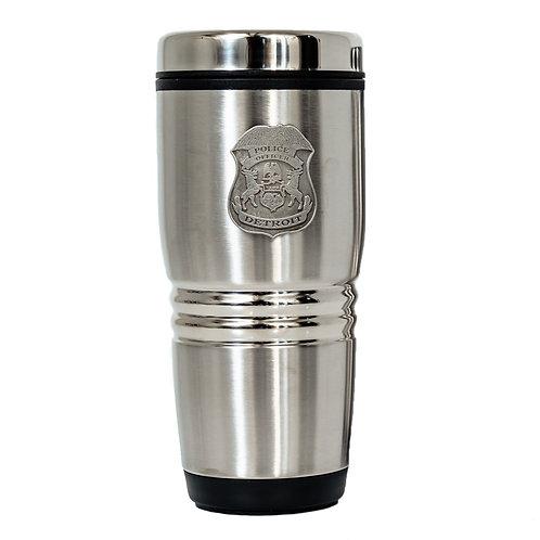 Detroit Police Pewter Badge Travel Mug 16 oz. (New Style)