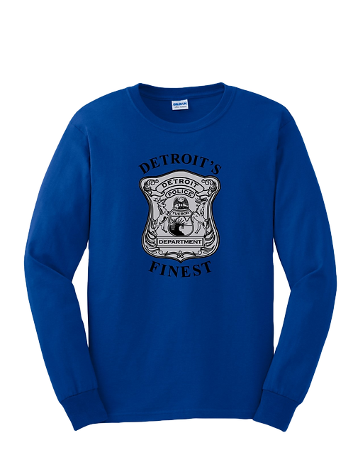 Detroit Police Finest Old Style Badge Long Sleeve Shirt