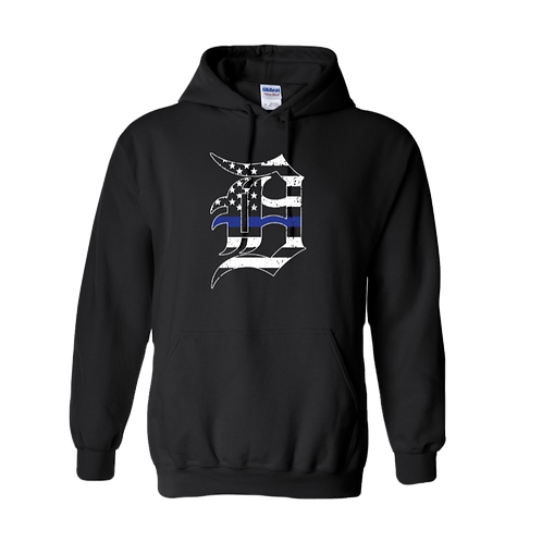 Detroit Police Blue Line Old English D Hoodie 18500