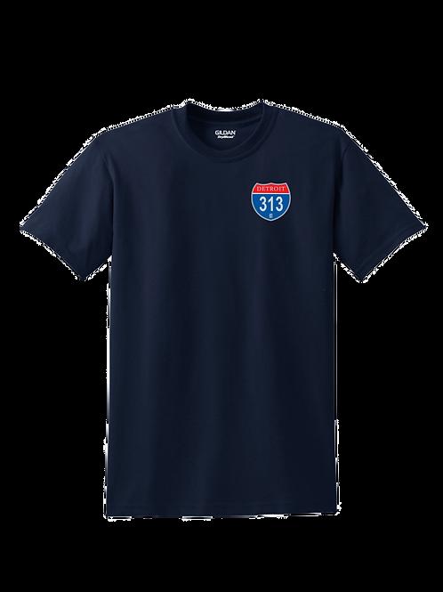 Detroit 313 Interstate (Left Chest) T-Shirt