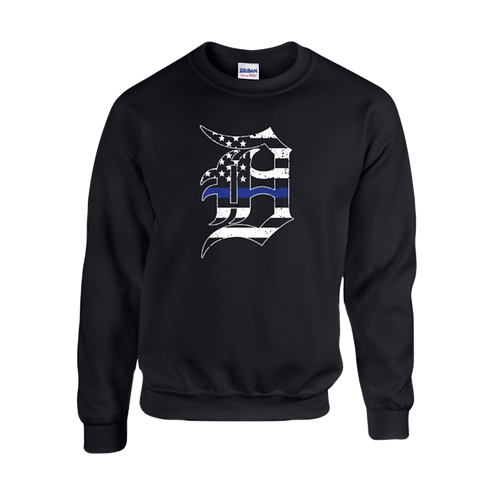 Detroit Police Blue Line Old English D Sweatshirt