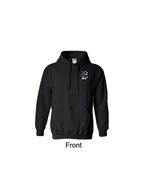 Detroit Police Blue Line Old English D and Flag Hoodie
