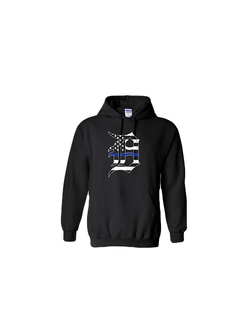 Detroit Police Blue Line Old English D Hoodie