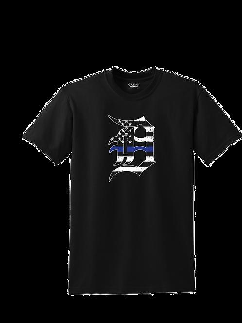 Detroit Police Blue Line Old English D T-Shirt
