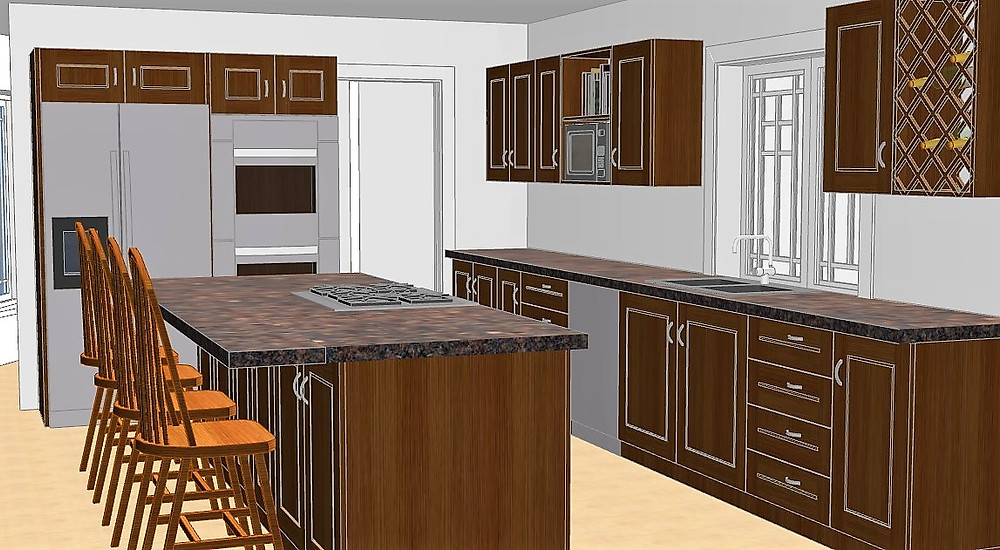 3D open concept kitchen with stainless steel appliances and dark wood cabinets