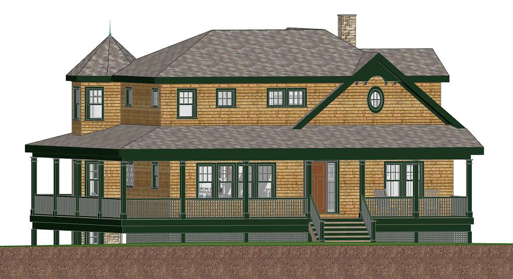3D Shingle Style Home with Forest Green Details