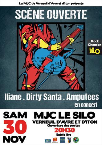 Scène ouverte : Iliane + Amputees + Dirty Santa à découvrir le 30 novembre au Silo