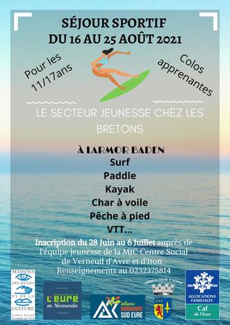 """La MJC Centre Social organise un séjour sportif: """"Le secteur jeunesse chez les Bretons"""""""