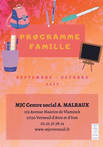 Programme d'activités du Secteur Famille pour septembre et octobre 2020