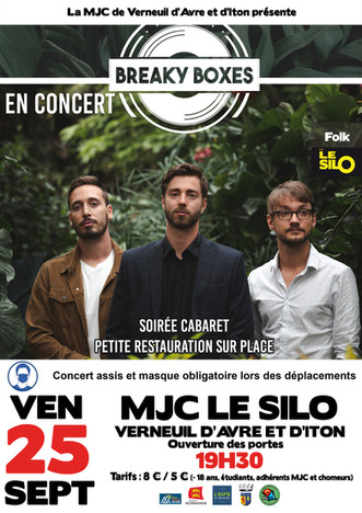 Concert en formule cabaret avec Breaky Boxes le vendredi 25 septembre