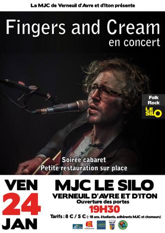 Concert en formule cabaret avec Fingers and Cream le vendredi 24 janvier