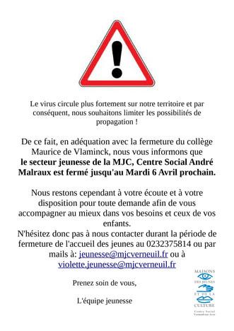 Fermeture du secteur jeunesse jusqu'au mardi 06 avril