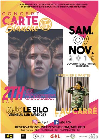 Soirée Rap avec 2TH et L au Carré le samedi 09 novembre au Silo, organisé par la Maison des Lycéens