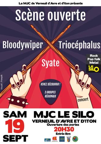 Scène ouverte au Silo avec Bloody Wiper, Syate et Triocéphalus le samedi 19 septembre