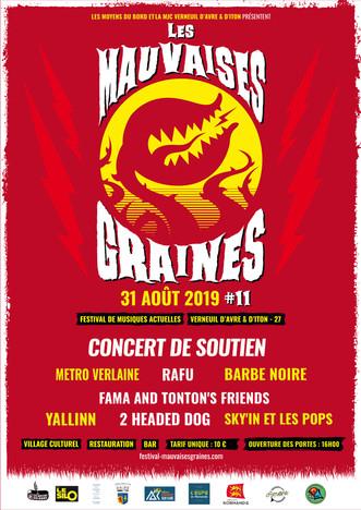 Concert de soutien au festival Les Mauvaises Graines le samedi 31 août au Silo