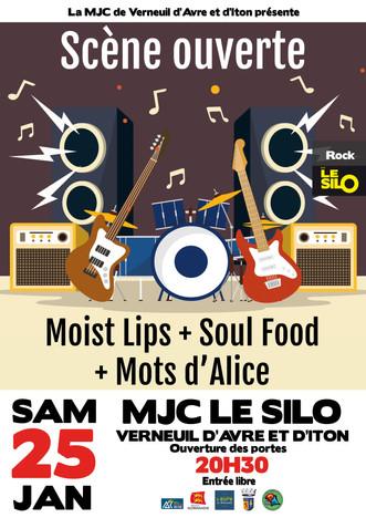 Scène ouverte : Moist Lips + Mots d'Alice + Soul Food à découvrir le 25 janvier au Silo