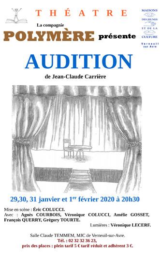 """Théâtre : La compagnie Polymère présente """"Audition"""" par Jean-Claude Carrière du 29 Janvier"""