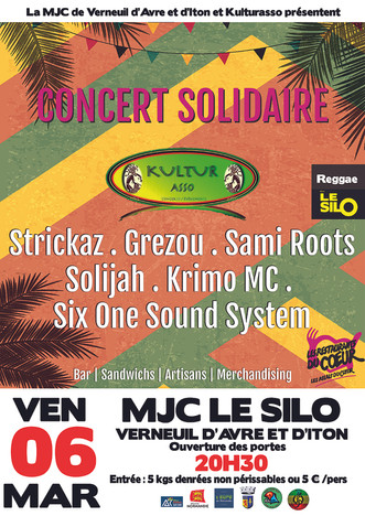 Soirée reggae et solidaire au profit des Restos du Cœur en partenariat avec Kulturasso le vendredi 0